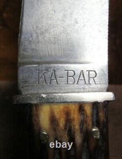 UNION CUTLERY CO. OLEAN, N. Y. KA-BAR Type 676 Bone Handled Knife with Sheath