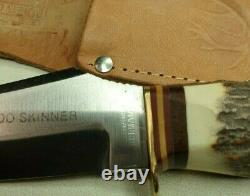 VINTAGE 80's FIXED BLADE STAG ORIGINAL ROO SKINNER KNIFE SOLINGEN GERMANY SHEATH