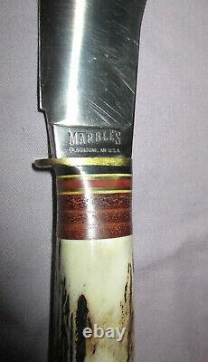 VINTAGE MARBLES HUNTING/CAMPING KNIFE STACKED LEATHER & STAG HANDLE With SHEATH