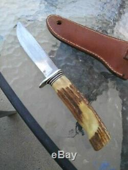 VINTAGE MORSETH STAG HUNTING KNIFE with ORIGINAL SHEATH A BEAUTY