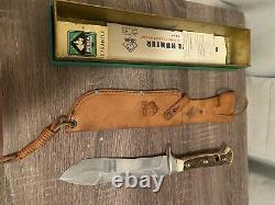 VINTAGE PUMA 6377 WHITE HUNTER KNIFE + PUMA leather SHEATH & Box 1967