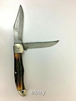 VTG Ka-Bar Kabar Dog Head Two Blade Folding Hunting Knife Union Cut Co Olean NY