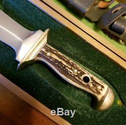 VTG Original 1985 Puma Waidblatt 3588 Stag Hunting Knife withSheath & Display Box