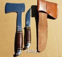 Vinatge Western U. S. A Hunting Knife Axe Hatchet L10 Set leather sheath Exct