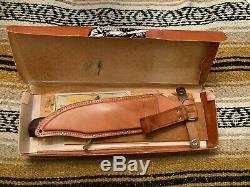 Vintage 1966 Western USA Pre-W49 V44 Marked BOWIE Hunting Knife WithSheath/Box NOS