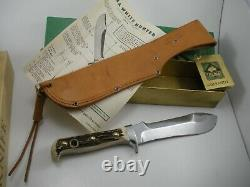 Vintage 1970 6377 Puma Germany Stag White Hunter Fixed Blade Knife in BOX