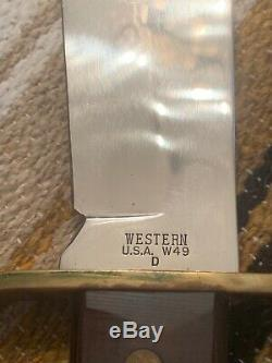 Vintage 1980 Western USA W49 D Bowie Hunting Survival V44 knife WithSheath/box