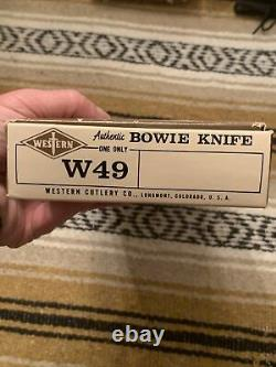 Vintage 1984 Western USA Red stag W49 Bowie Survival Knife WithOriginal Sheath/Box