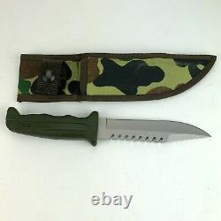 Vintage 1986 Buck 639 Fieldmate Fixed Blade Knife Survival USA Made Camo Sheath