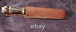 Vintage A&K Trading Co. Solingen, Germany 17 Fixed Blade Stag Bowie Knife