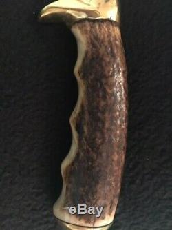 Vintage Bull Whip Signature Rudy Ruana Custom Brassie Knife with original sheath