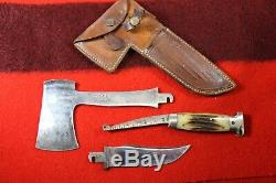 Vintage Case XX Green Bone Stag Hunting Knife and Hatchet Combo with Sheath RARE