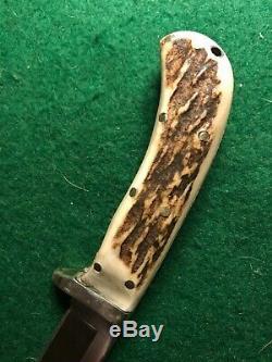 Vintage Custom Alex Graham Stag Hunting Knife Tapered Tang Handmade Rare 80s