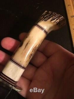Vintage Custom Morseth Knife 3 Piece Stag Handle Handmade Hunting
