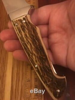 Vintage Custom Stag Hunting Knife By M. Bezek Withfolding Saw Blade (secondary)