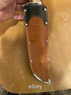 Vintage Edge Brand #469 Germany Stag Bowie Hunting Knife With Scabbard