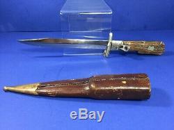 Vintage, Folding Swing Guard Bowie / Hunter Lockback Knife with Sheath