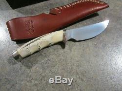 Vintage GERBER MODEL 425 HS. 58 9 3/8 STAG knife in Leather Sheath unused in box