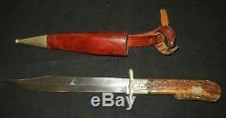 Vintage German Folding Hunting Knife Pig Sticker/stag Handle +leather Sheath