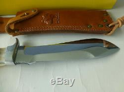 Vintage German Puma White Hunter Knife #6377 With Case Tag Paper Leather Sheath
