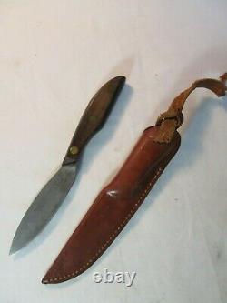 Vintage Herters Inc Waseca Minn Hunting Skinning Fixed Blade Knife And Sheath