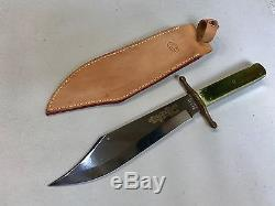 Vintage KA-BAR Hunting Bowie Knife Green Bone Handle UNUSED 8001 DL Ltd Ed #286