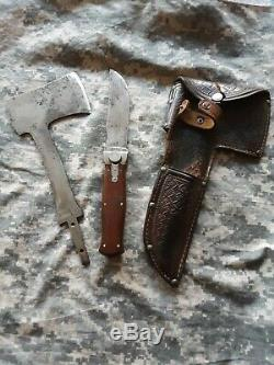 Vintage KA-BAR Union Cutlery Knife/Hatchet Combo Set Leather RARE