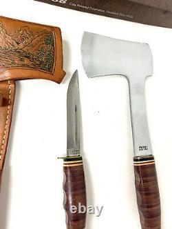 Vintage Ka-Bar Axe & Knife Combo Set w Custom Leather Sheath KABAR 1331 & 1232