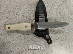 Vintage Ka-Bar KHYBER Japan 2750 White Handle Boot Dagger Knife Withsheath/box