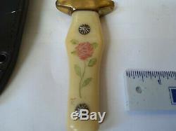 Vintage Ka-bar 2750 Knife Rose on white handle Cleveland Japan sheath not used