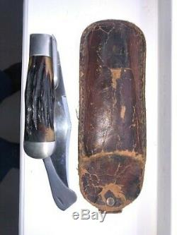 Vintage MARBLES Stag Safety Folding Hunting Knife with original sheath