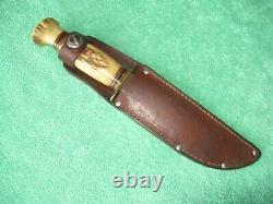 Vintage Marbles Gladstone Ideal Hunting Knife, Stag Handle, Original Sheath
