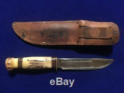 Vintage Marbles Ideal Hunting Knife Genuine Full Stag & Original Leather Sheath