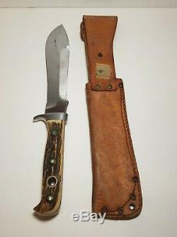 Vintage Puma 6377 White Hunter Knife Stag Handle (A04)