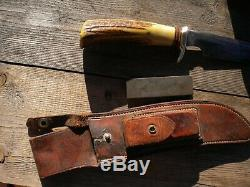 Vintage Randall Knife 4-7 pinned stag with Heiser sheath & nickel silver hilt