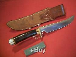 Vintage Randall Knife Model 4-7, Heiser Brown Button Corn Row Sheath, Mint