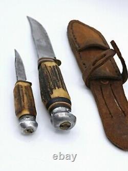 Vintage SOLINGEN Germany Duo Knife Stag Handle Hunting Knife Set