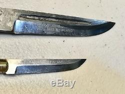 Vintage Set 2 Horse Head Finland Pukko Hunting Dagger Knife WithLeather Sheath