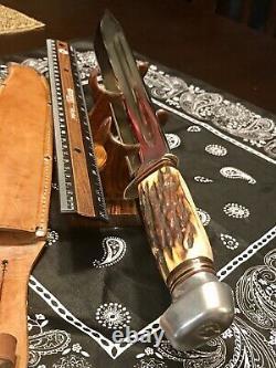 Vintage Solingen Germany Stagg 17 / 12 Blade Huge Hunting Knife With Sheath