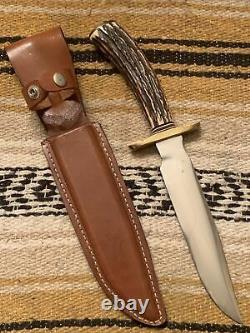 Vintage Stag Western USA made Blackjack 1-7 Bowie Survival Fighting Knife withCase