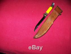 Vintage Unsed Small 28 Western Bird & Trout Yellow Handle Hunting Knife WithSheath