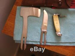 Vintage WESTERN Pearl Fixed Blade Hunting Knife & Axe Hatchet Combo Set w Sheath
