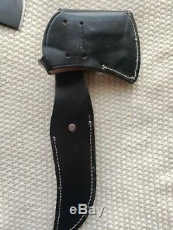 Vintage Western Cutlery Black Beauty Boulder Colo F39 Knife Hatchet Combo MINT