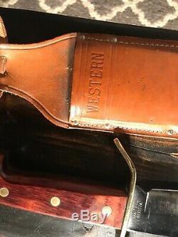 Vintage Western USA W49 I 1985 Bowie Hunting Survival V44 knife WithSheath/box