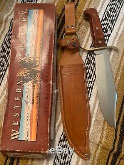 Vintage Western USA W49 K 1987 Bowie Hunting Survival V44 knife WithSheath/box