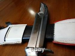 Vintage XL Original Bowie knife Solingen Germany Hunting Old Stag Bone withcase