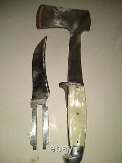 Vintage western fixed blade knife, hatchet combination