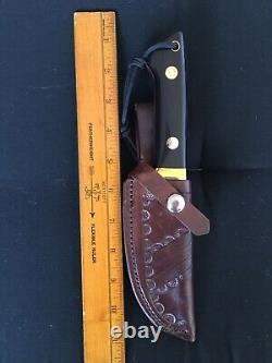 Voorhis Custom Drop Point Knife, Black Micarta Scales, Tooled Leather Sheath