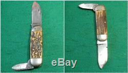 Vtg Hunt Blade Case Brothers Early 1896-1915TOENAILSUNFISHKnife #1 Stag fold