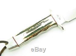 Vtg Nos Rigid Seki Japan Tak Fukuta Stag Bowie Aus-8 Fixed Blade Hunting Knife